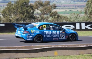 A Ford Falcon race car driven by James Moffat and Alex Davison at the 2012 Bathurst 1000 race - photo courtesy of Racin Jason