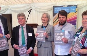 Speakers at the launch of the Designing the Digital Economy Report - Nick Appleyard of UKTI, Lord Inglewood, Baroness Whitaker, Daniel Charny of the From Now On Projects, and Professor Gillian Youngs of the University of Brighton.