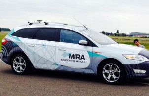 Driverless cars demo at MIRA Ltd in Warwickshire