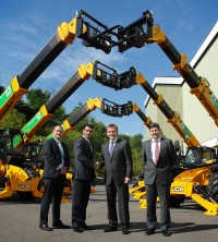 Signing off the deal is (form left) Tom Greenshields, National Accounts Director for JCB dealer Greenshields JCB; Asif Latief, A-Plant Marketing and Strategic Accounts Director; JCB CEO Graeme Macdonald and JCB UK & Ireland Sales Director Dan Thompstone.