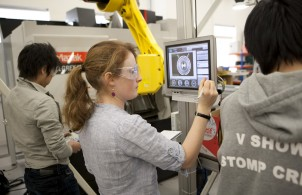 Students using Omron Automation lab