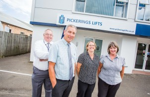 (left to right), Glyn Evans, Norman Rayner, Cathy Sanders and Liz Macdonald from Pickerings Lifts
