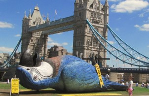 Monty Python Dead Parrot statue near Tower Bridge in July 2014 - image (resized) courtesy of David Holt