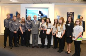 HRH, The Prince of Wales with Industrial Cadets at his recent visit to Airbus.