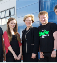 Students from Coventry University with Carol Burke of UMG.
