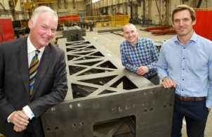 Image left to right: Adrian Waters, MAS advisor; Robert Hall, HR, safety & quality director of Adey Steel; Andrew Adey, MD of Adey Steel