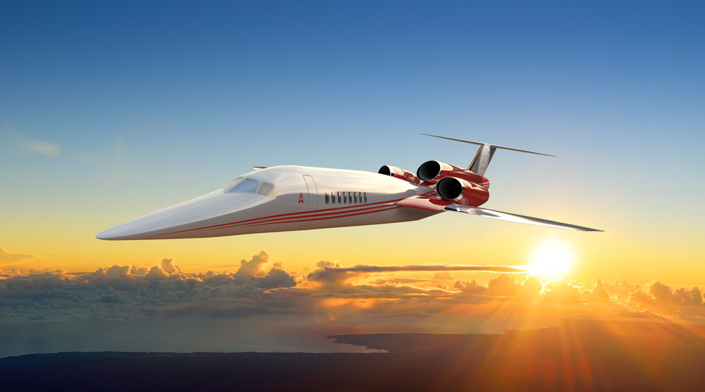 The proposed design for the supersonic Aerion AS2 business jet in flight..jpg