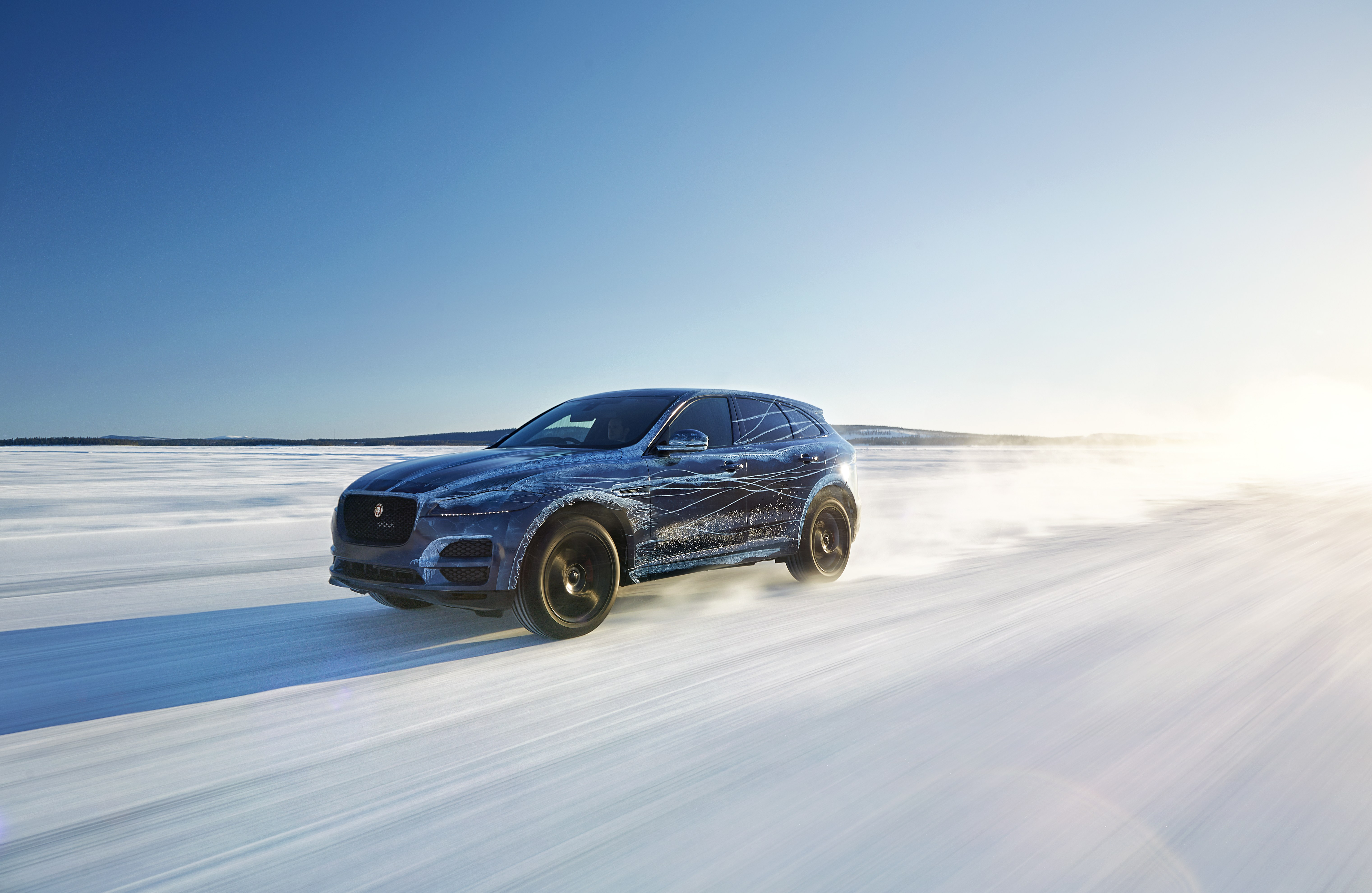 Jaguar F-Pace testing in the snow in Sweden.
