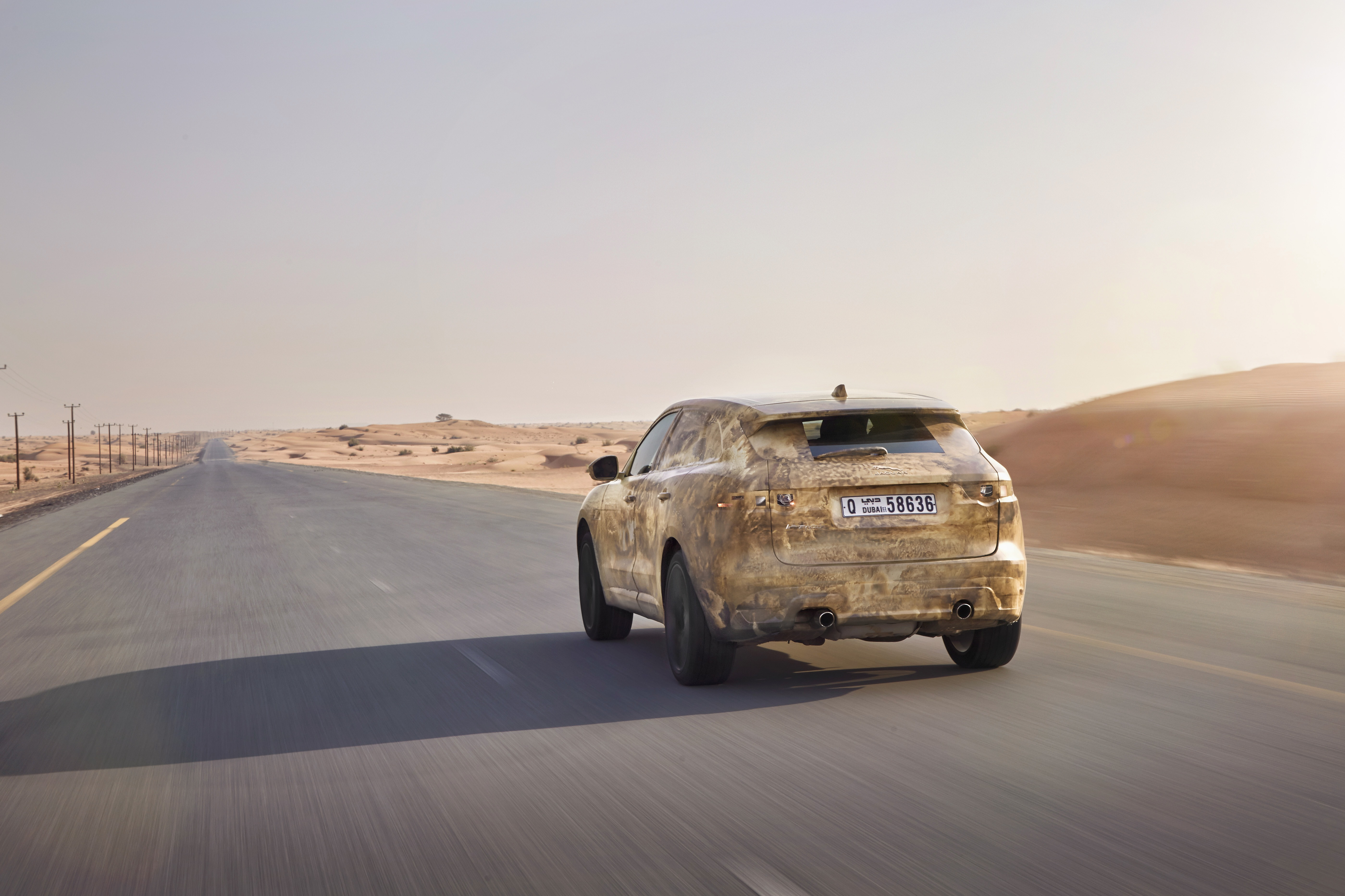 Jaguar F-Pace testing in the heat in Dubai.