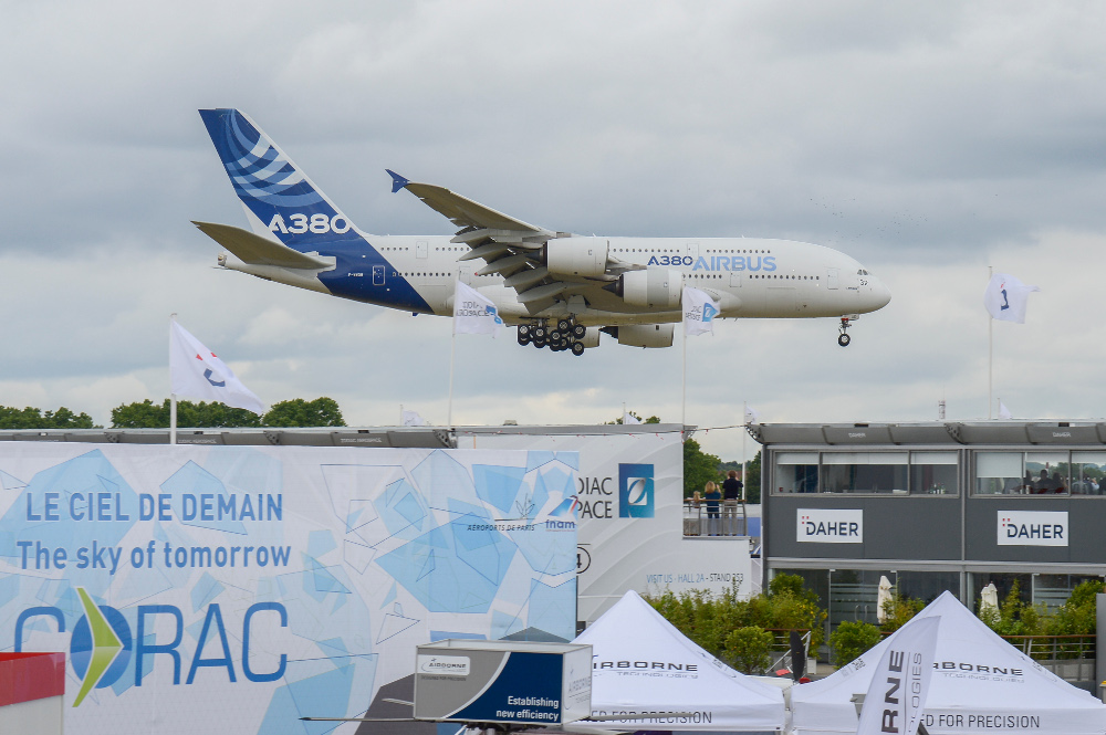 The Airbus A380 at Paris Air Show 2015.