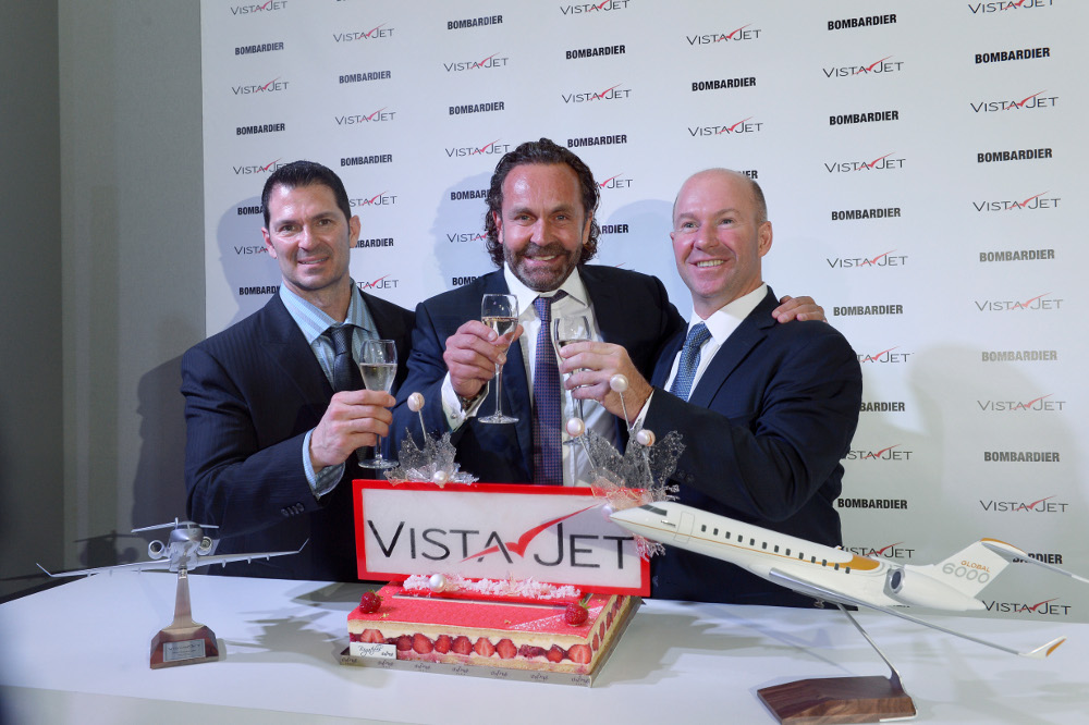 Vistajet ordered its 50th Bombardier aircraft, Thomas Flohr, president and founder, VistaJet, Alain Bellemare, Bombardier CEO.