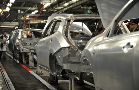 Nissan body in white on the production line in Sunderland