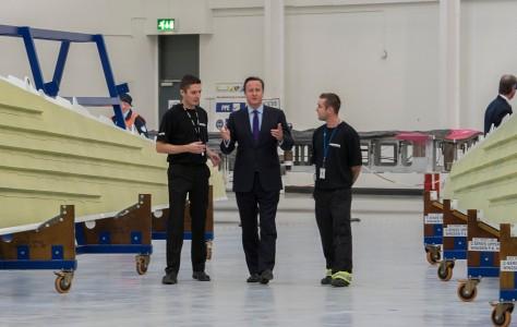 David Cameron visits Bombardier Aviation in Belfast