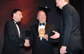 Alan Flynn, Pentagon's Group Process Safety Advisor, received the Responsible Care award on behalf of Pentagon from Steve Elliott of the CIA and Dave Topliffe of Shell UK - image courtesy of Pentagon Chemicals.