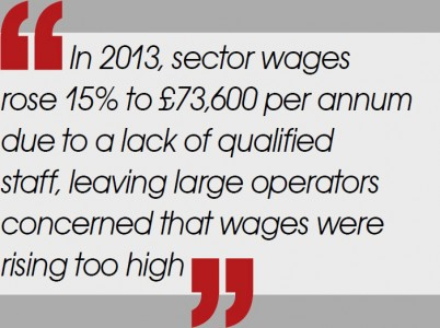 In 2013, sector wages rose 15% to £73,600 per annum due to a lack of qualified staff, leaving large operators concerned that wages were rising too high.